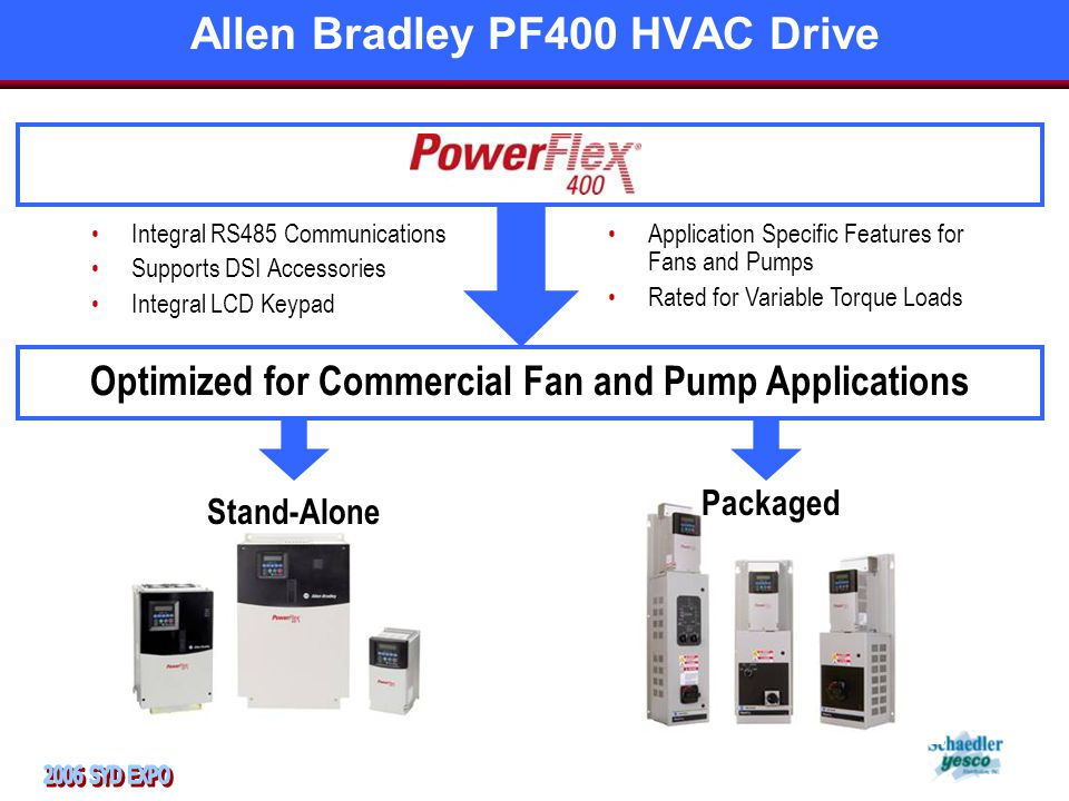 Integral RS485 Communications Supports DSI Accessories Integral LCD Keypad Optimized for Commercial Fan and Pump Applications Stand-Alone Application Specific Features for Fans and Pumps Rated for Variable Torque Loads Packaged Allen Bradley PF400 HVAC Drive