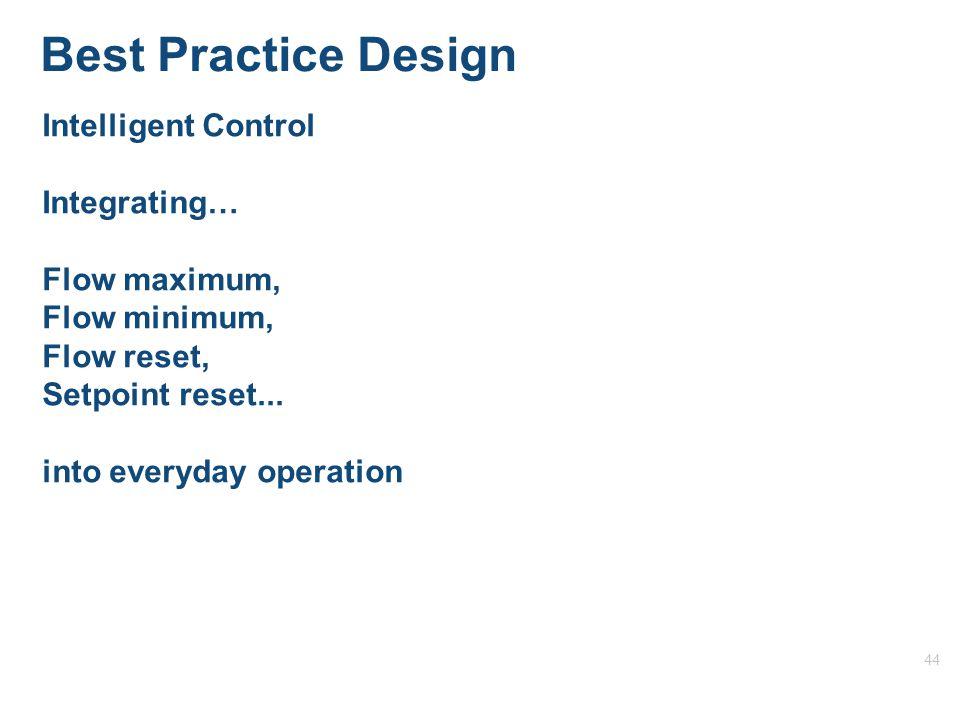 44 Best Practice Design Intelligent Control Integrating… Flow maximum, Flow minimum, Flow reset, Setpoint reset...