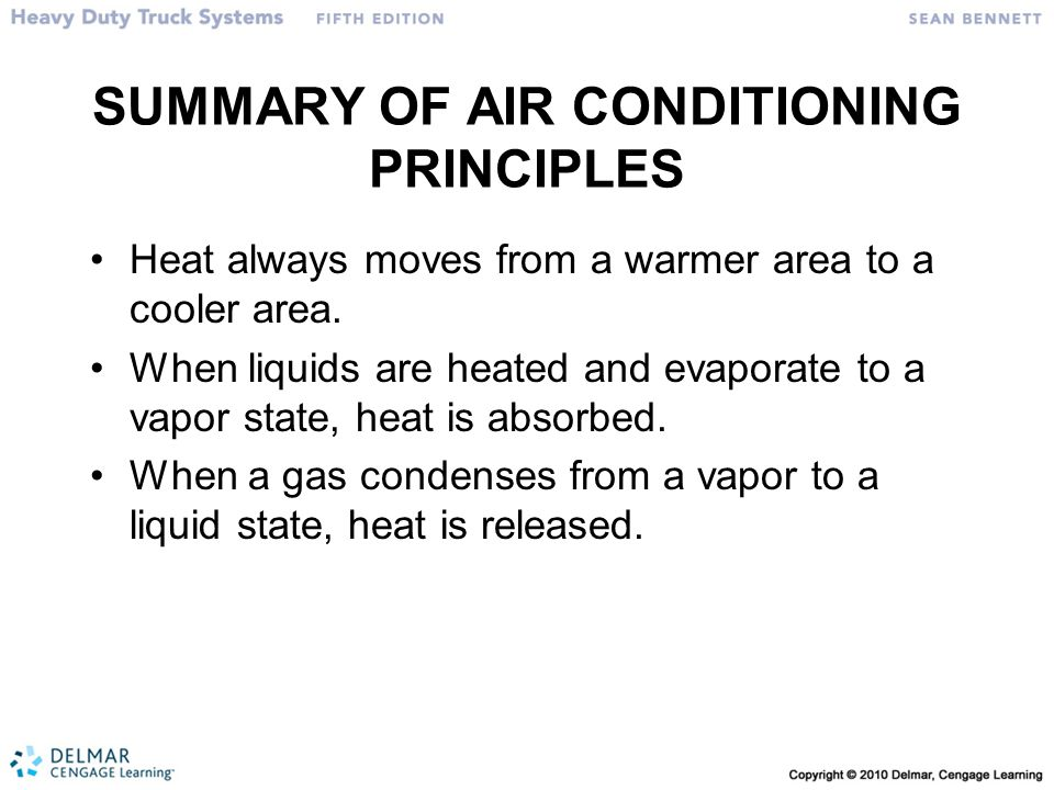 SUMMARY OF AIR CONDITIONING PRINCIPLES Heat always moves from a warmer area to a cooler area.