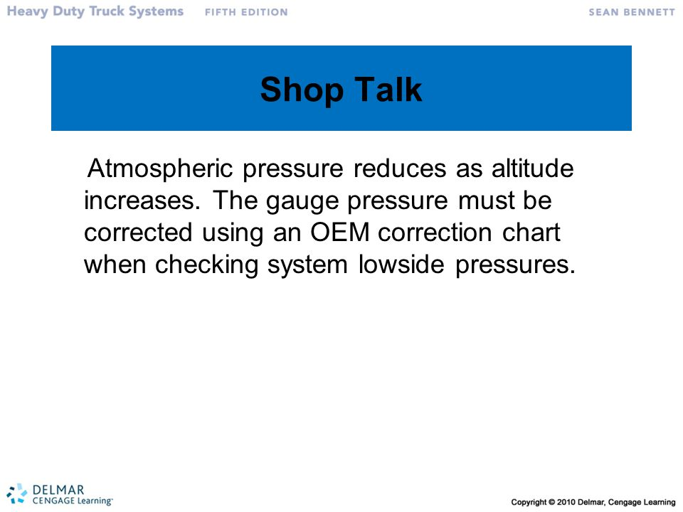 Shop Talk Atmospheric pressure reduces as altitude increases. The gauge pressure must be corrected using an OEM correction chart when checking system