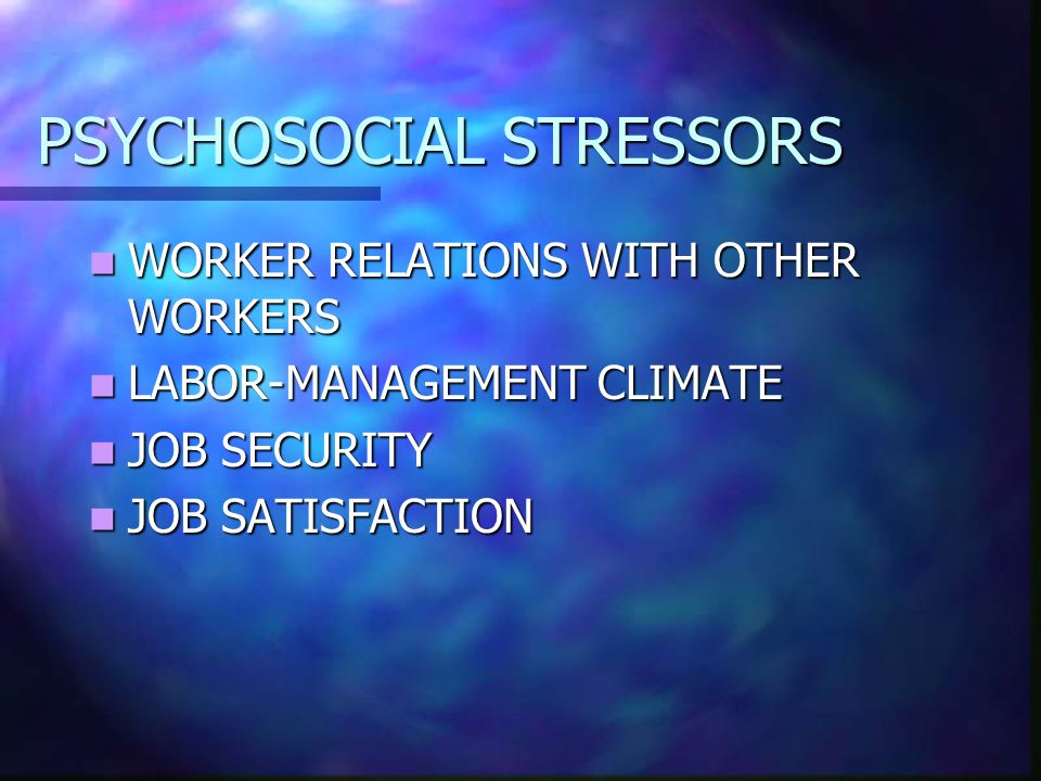 PSYCHOSOCIAL STRESSORS WORKER RELATIONS WITH OTHER WORKERS WORKER RELATIONS WITH OTHER WORKERS LABOR-MANAGEMENT CLIMATE LABOR-MANAGEMENT CLIMATE JOB SECURITY JOB SECURITY JOB SATISFACTION JOB SATISFACTION