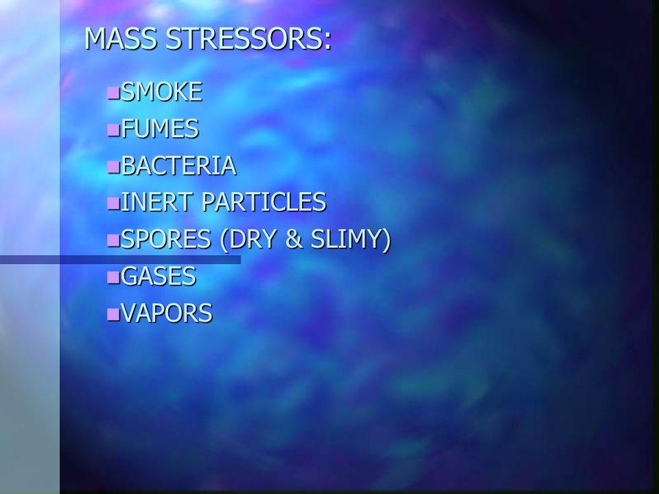MASS STRESSORS: SMOKE SMOKE FUMES FUMES BACTERIA BACTERIA INERT PARTICLES INERT PARTICLES SPORES (DRY & SLIMY) SPORES (DRY & SLIMY) GASES GASES VAPORS VAPORS