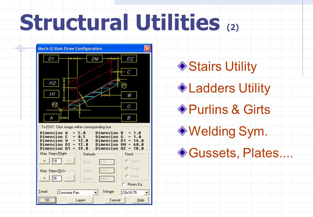 Structural Utilities (2) Stairs Utility Ladders Utility Purlins & Girts Welding Sym. Gussets, Plates....