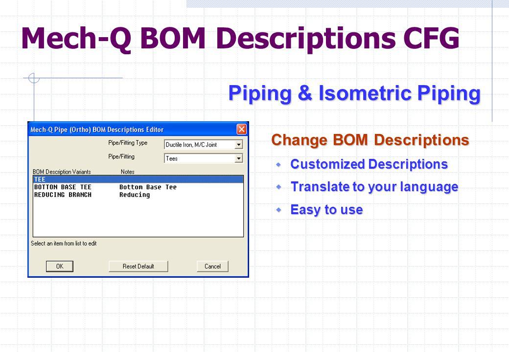 Mech-Q BOM Descriptions CFG Piping & Isometric Piping Piping & Isometric Piping Change BOM Descriptions Change BOM Descriptions  Customized Descripti