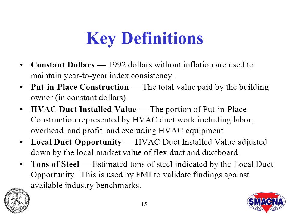 15 Key Definitions Constant Dollars — 1992 dollars without inflation are used to maintain year-to-year index consistency.