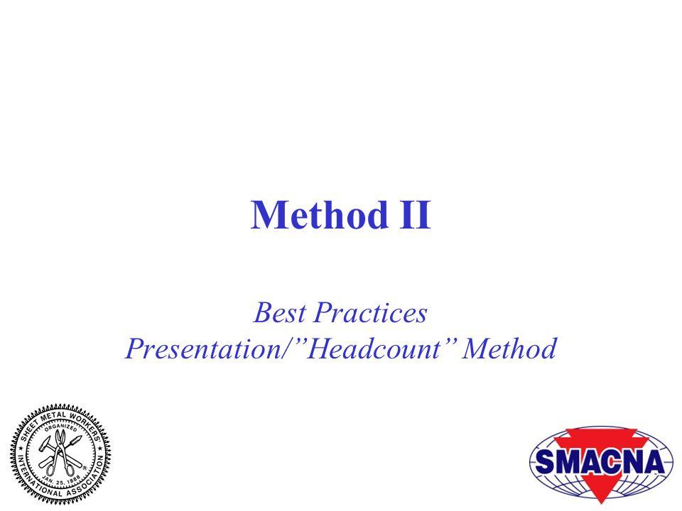 Method II Best Practices Presentation/ Headcount Method