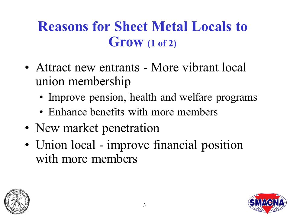 3 Reasons for Sheet Metal Locals to Grow (1 of 2) Attract new entrants - More vibrant local union membership Improve pension, health and welfare programs Enhance benefits with more members New market penetration Union local - improve financial position with more members