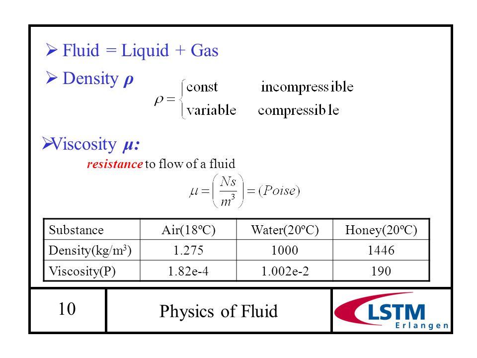 10  Density ρ Physics of Fluid  Fluid = Liquid + Gas SubstanceAir(18ºC)Water(20ºC)Honey(20ºC) Density(kg/m 3 )1.27510001446 Viscosity(P)1.82e-41.002