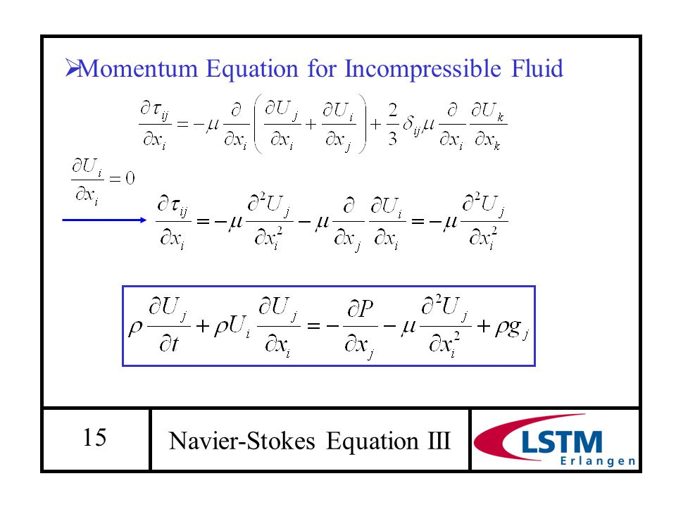 15 Navier-Stokes Equation III  Momentum Equation for Incompressible Fluid