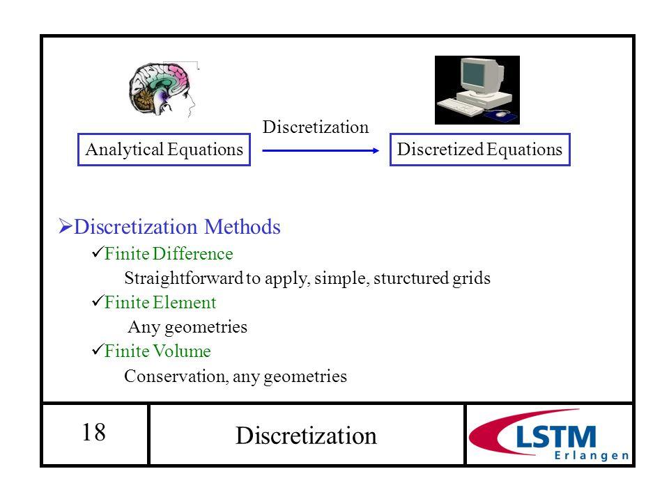 18 Discretization  Discretization Methods Finite Difference Straightforward to apply, simple, sturctured grids Finite Element Any geometries Finite V