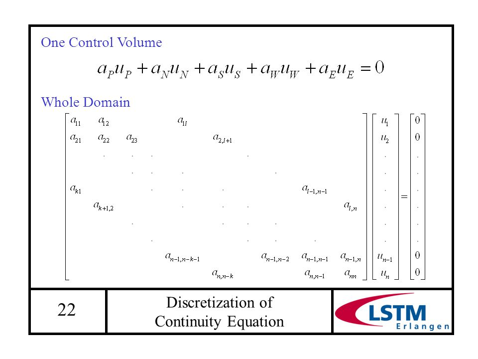 22 Discretization of Continuity Equation One Control Volume Whole Domain