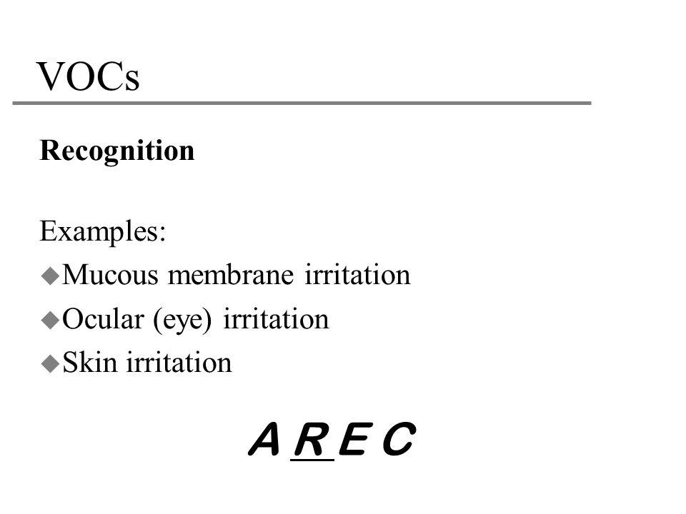 VOCs Recognition Examples:  Mucous membrane irritation  Ocular (eye) irritation  Skin irritation A R E C