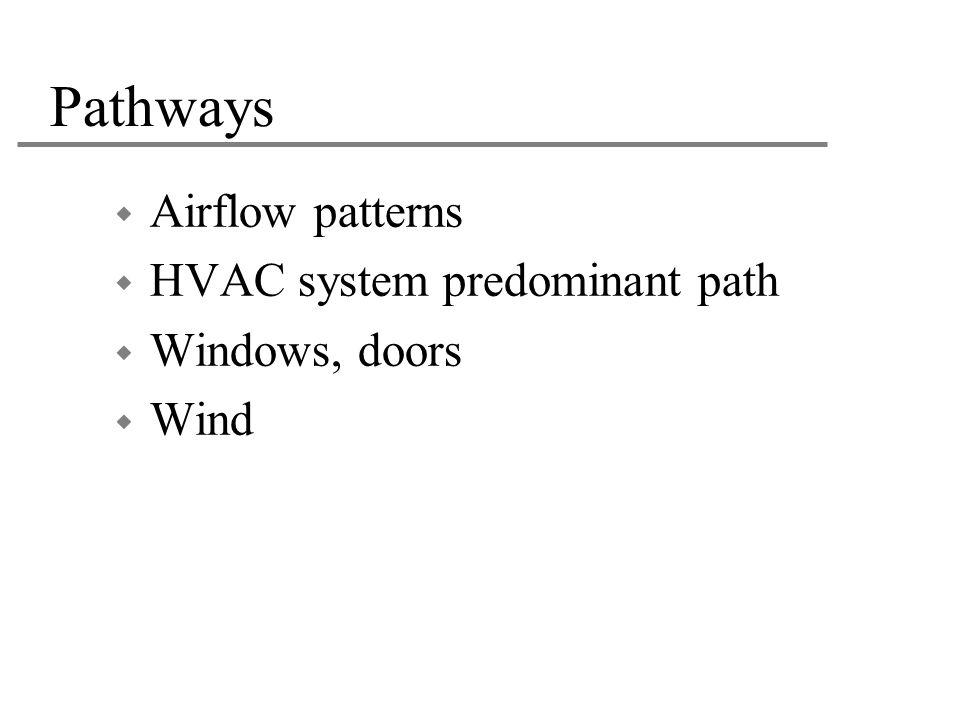 Pathways  Airflow patterns  HVAC system predominant path  Windows, doors  Wind