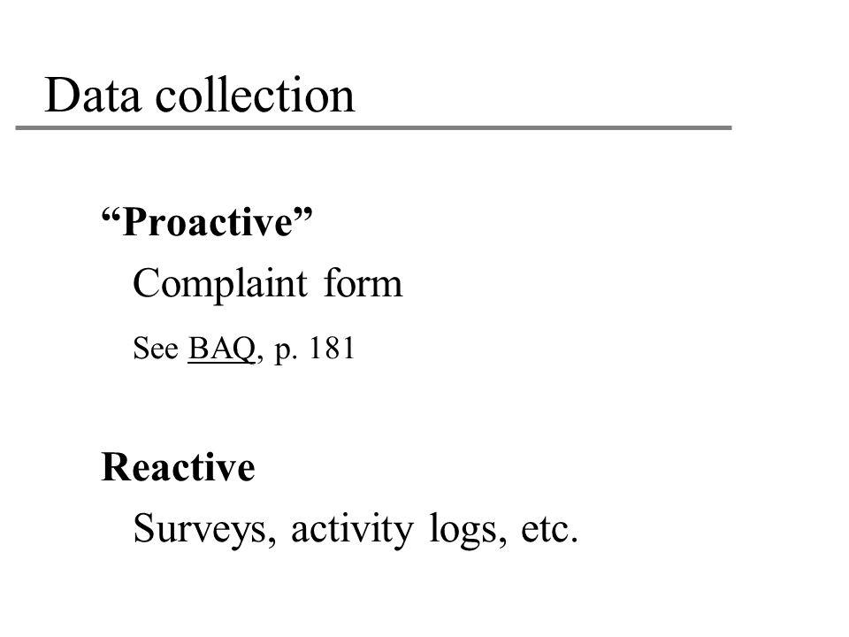"""Data collection """"Proactive"""" Complaint form See BAQ, p. 181 Reactive Surveys, activity logs, etc."""
