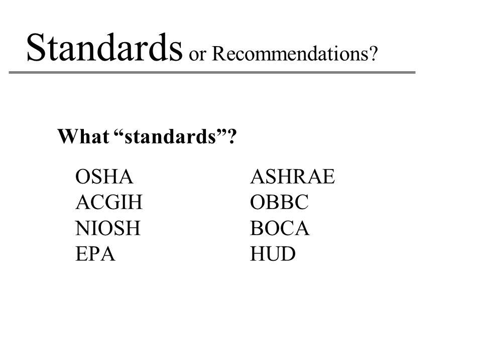 "Standards or Recommendations? What ""standards""? OSHAASHRAE ACGIHOBBC NIOSHBOCA EPAHUD"