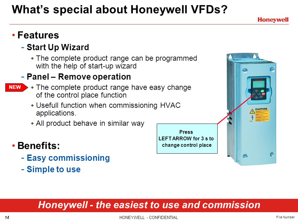 14HONEYWELL - CONFIDENTIAL File Number What's special about Honeywell VFDs.