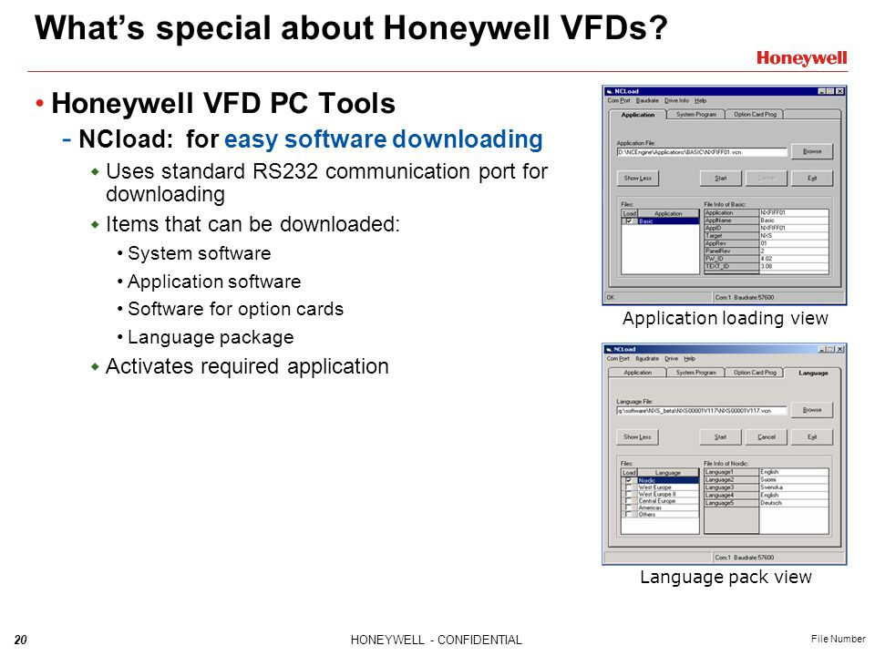 20HONEYWELL - CONFIDENTIAL File Number What's special about Honeywell VFDs? Honeywell VFD PC Tools - NCload: for easy software downloading  Uses stan