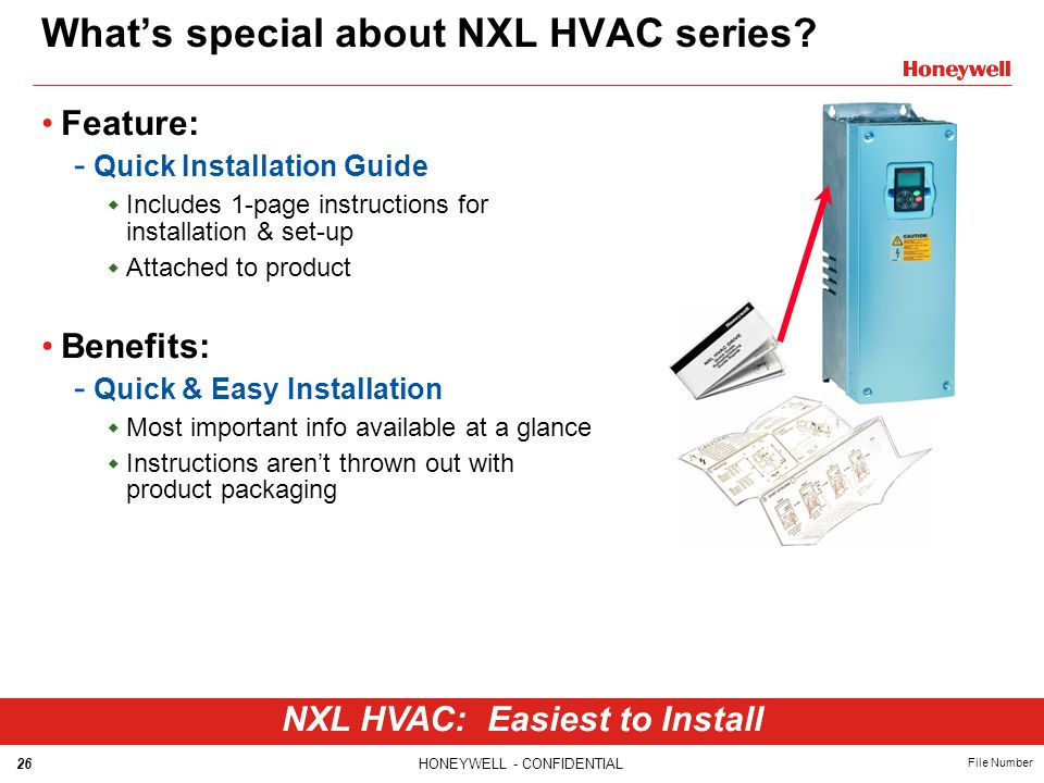 26HONEYWELL - CONFIDENTIAL File Number What's special about NXL HVAC series? Feature: - Quick Installation Guide  Includes 1-page instructions for in