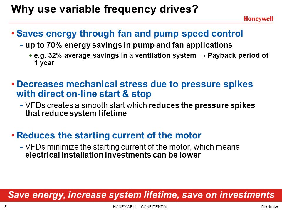 5HONEYWELL - CONFIDENTIAL File Number Why use variable frequency drives? Saves energy through fan and pump speed control - up to 70% energy savings in