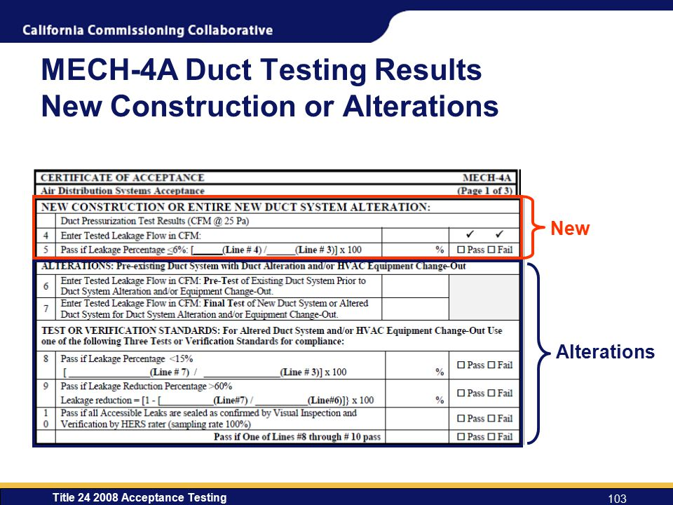 Title 24 2008 Acceptance Testing 103 MECH-4A Duct Testing Results New Construction or Alterations Alterations New