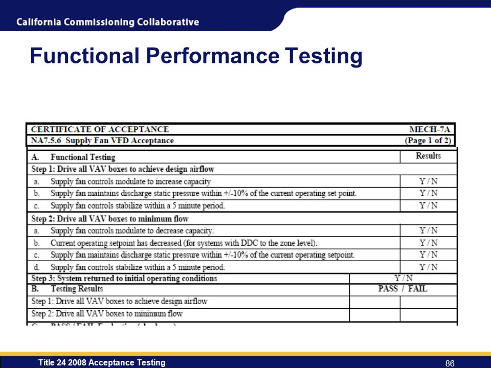 Title 24 2008 Acceptance Testing 86 Functional Performance Testing