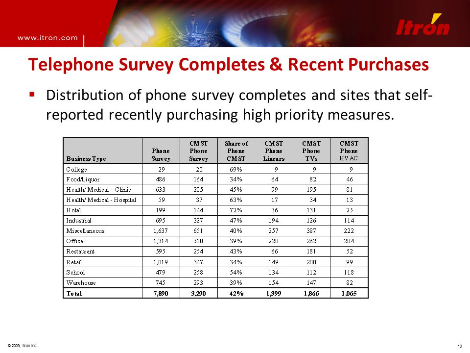 © 2009, Itron Inc. 13 Telephone Survey Completes & Recent Purchases  Distribution of phone survey completes and sites that self- reported recently pu