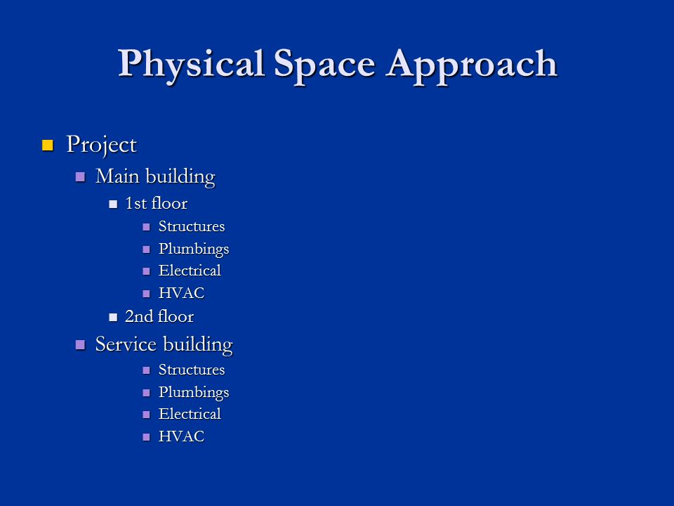 Physical Space Approach Project Project Main building Main building 1st floor 1st floor Structures Structures Plumbings Plumbings Electrical Electrical HVAC HVAC 2nd floor 2nd floor Service building Service building Structures Structures Plumbings Plumbings Electrical Electrical HVAC HVAC