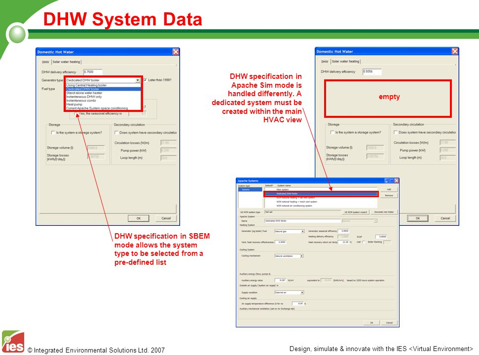 © Integrated Environmental Solutions Ltd. 2007 Design, simulate & innovate with the IES DHW System Data DHW specification in SBEM mode allows the syst