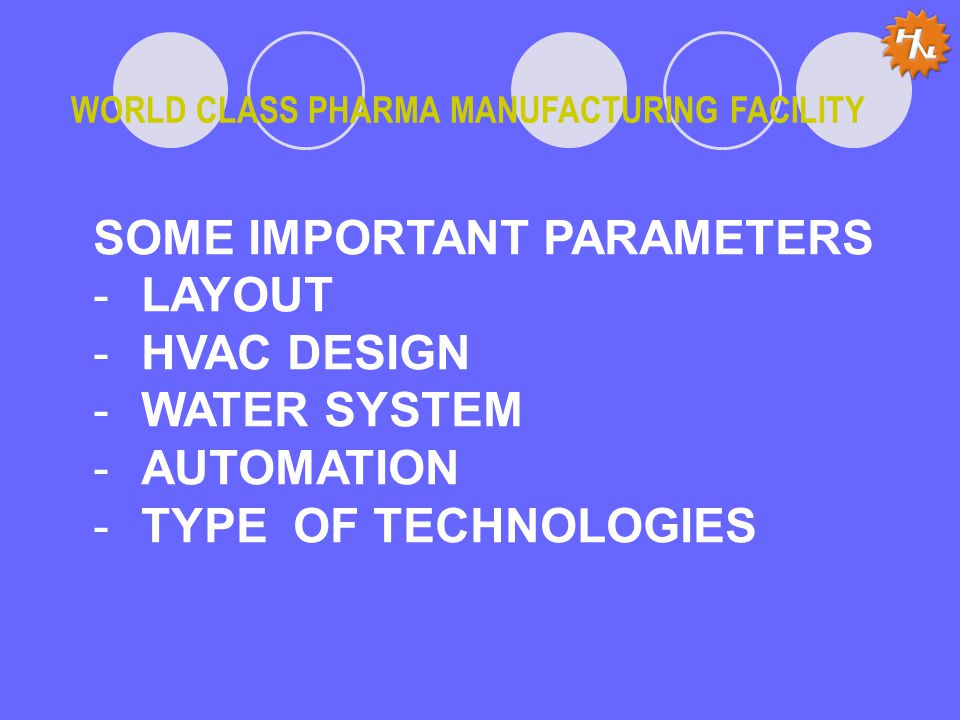 WORLD CLASS PHARMA MANUFACTURING FACILITY SOME IMPORTANT PARAMETERS -LAYOUT -HVAC DESIGN -WATER SYSTEM -AUTOMATION -TYPE OF TECHNOLOGIES
