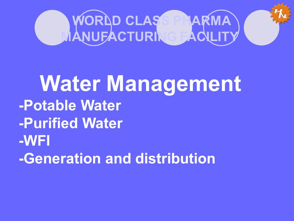 WORLD CLASS PHARMA MANUFACTURING FACILITY Water Management -Potable Water -Purified Water -WFI -Generation and distribution