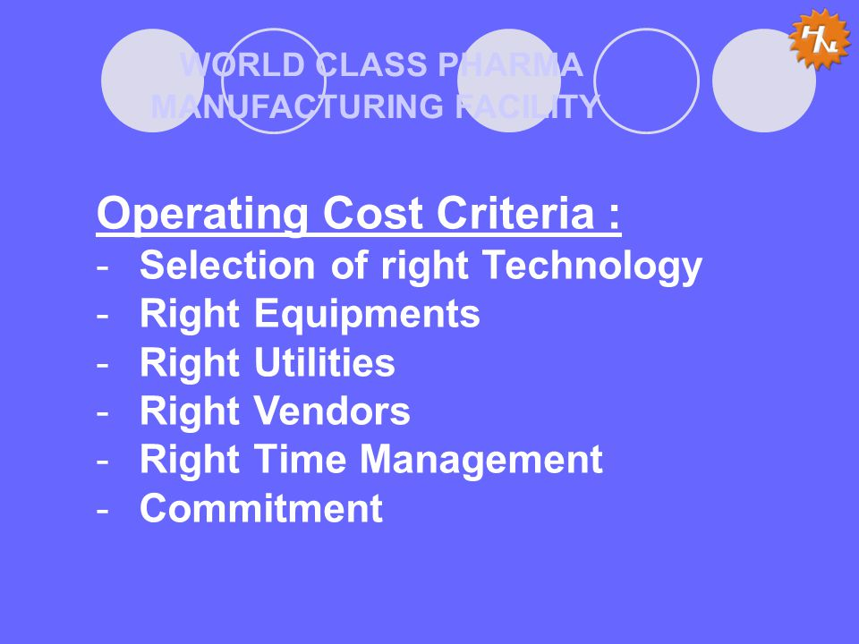 WORLD CLASS PHARMA MANUFACTURING FACILITY Operating Cost Criteria : -Selection of right Technology -Right Equipments -Right Utilities -Right Vendors -