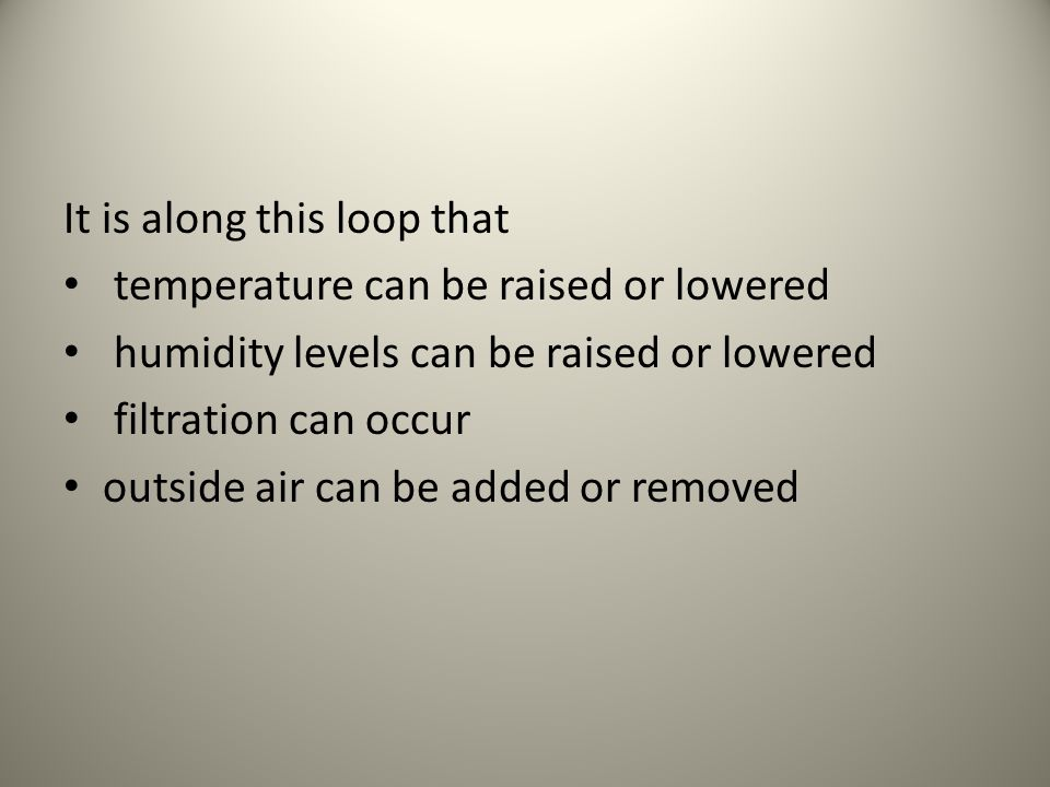 It is along this loop that temperature can be raised or lowered humidity levels can be raised or lowered filtration can occur outside air can be added