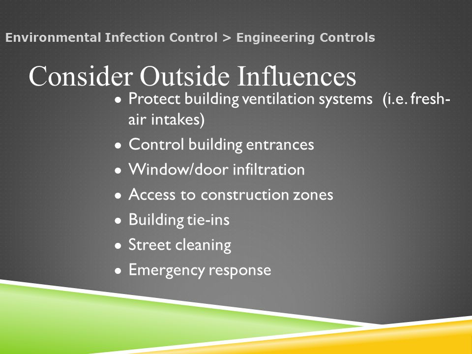Protect building ventilation systems (i.e.