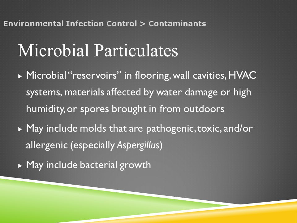  Microbial reservoirs in flooring, wall cavities, HVAC systems, materials affected by water damage or high humidity, or spores brought in from outdoors  May include molds that are pathogenic, toxic, and/or allergenic (especially Aspergillus)  May include bacterial growth Microbial Particulates Environmental Infection Control > Contaminants