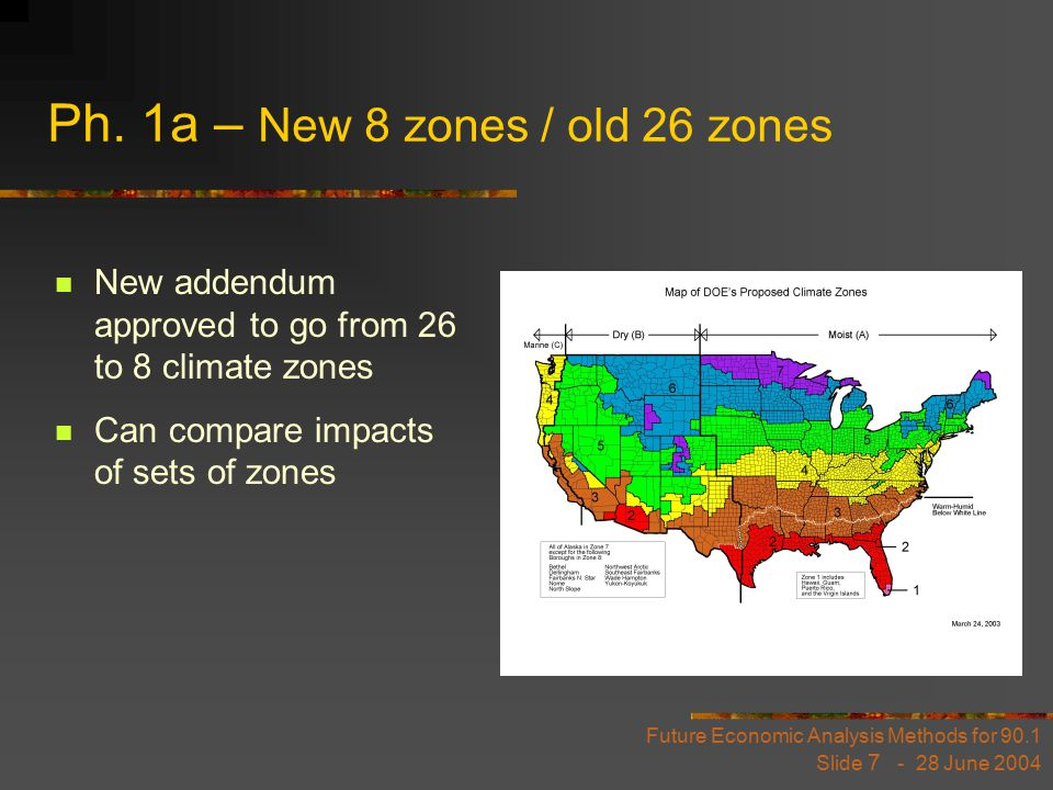 Future Economic Analysis Methods for 90.1 Slide 7 - 28 June 2004 Ph. 1a – New 8 zones / old 26 zones New addendum approved to go from 26 to 8 climate