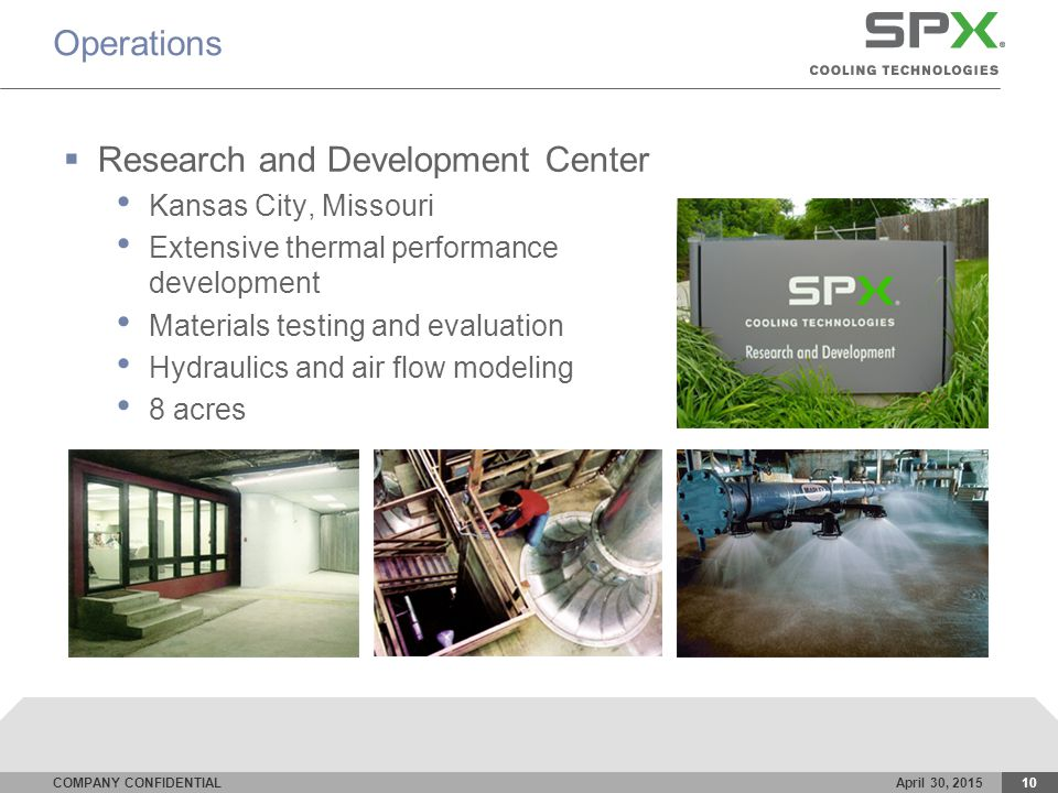 COMPANY CONFIDENTIALApril 30, 201510 Operations  Research and Development Center Kansas City, Missouri Extensive thermal performance development Materials testing and evaluation Hydraulics and air flow modeling 8 acres