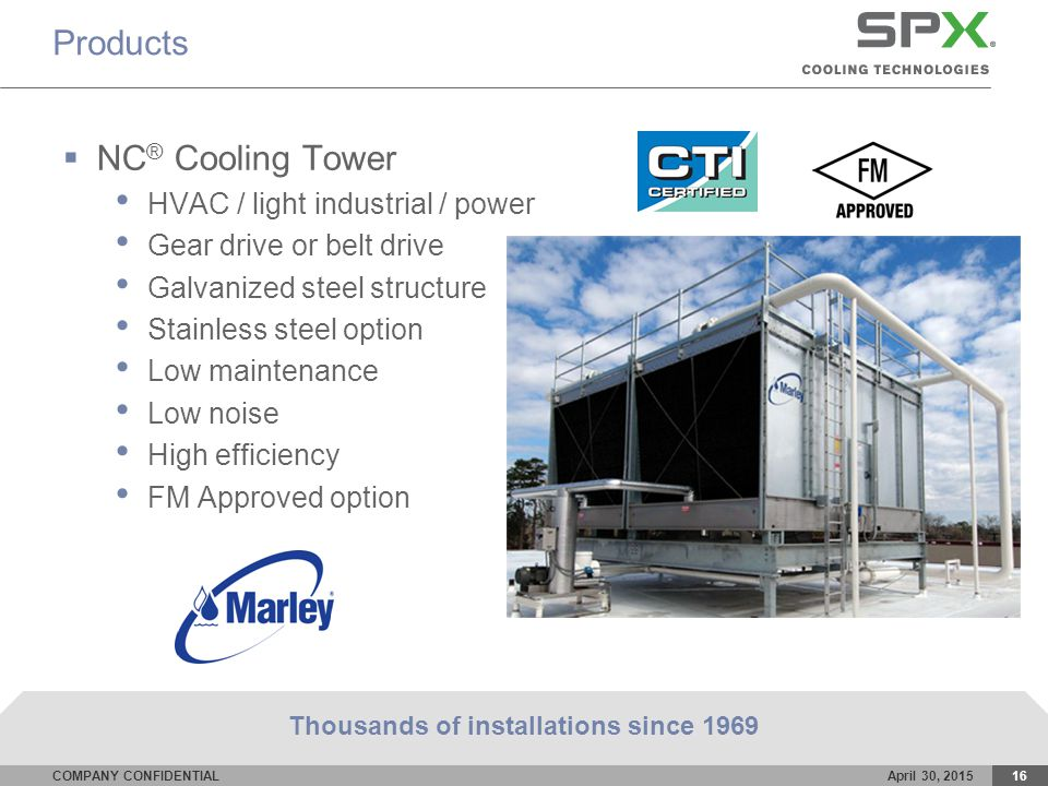 COMPANY CONFIDENTIALApril 30, 201516 Products  NC ® Cooling Tower HVAC / light industrial / power Gear drive or belt drive Galvanized steel structure Stainless steel option Low maintenance Low noise High efficiency FM Approved option Thousands of installations since 1969
