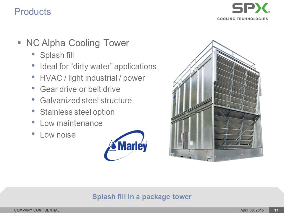 COMPANY CONFIDENTIALApril 30, 201517 Products  NC Alpha Cooling Tower Splash fill Ideal for dirty water applications HVAC / light industrial / power Gear drive or belt drive Galvanized steel structure Stainless steel option Low maintenance Low noise Splash fill in a package tower