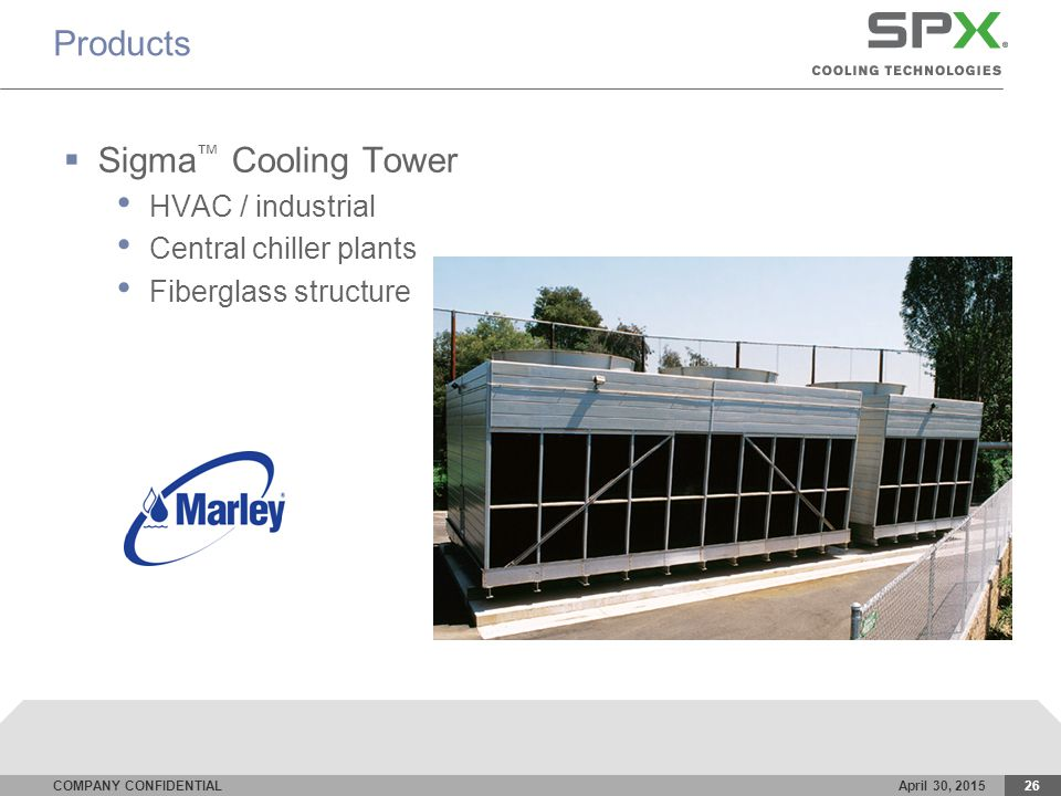 COMPANY CONFIDENTIALApril 30, 201526 Products  Sigma ™ Cooling Tower HVAC / industrial Central chiller plants Fiberglass structure