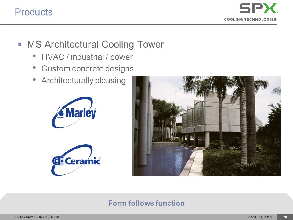 COMPANY CONFIDENTIALApril 30, 201528 Products  MS Architectural Cooling Tower HVAC / industrial / power Custom concrete designs Architecturally pleasing Form follows function