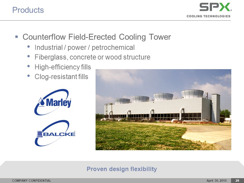 COMPANY CONFIDENTIALApril 30, 201529 Products  Counterflow Field-Erected Cooling Tower Industrial / power / petrochemical Fiberglass, concrete or wood structure High-efficiency fills Clog-resistant fills Proven design flexibility