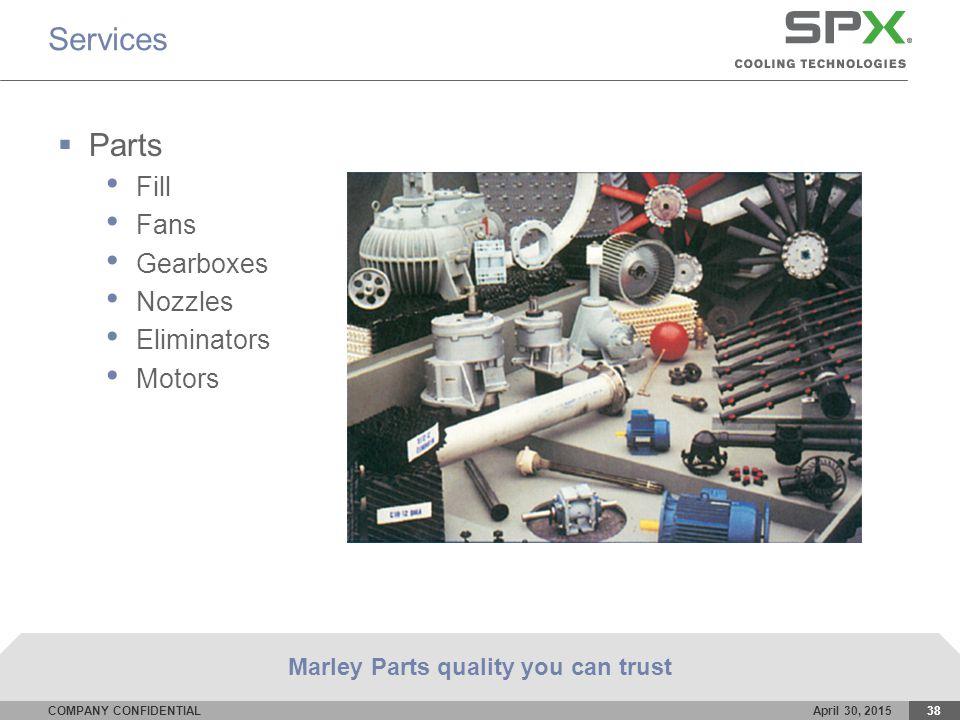 COMPANY CONFIDENTIALApril 30, 201538 Services  Parts Fill Fans Gearboxes Nozzles Eliminators Motors Marley Parts quality you can trust