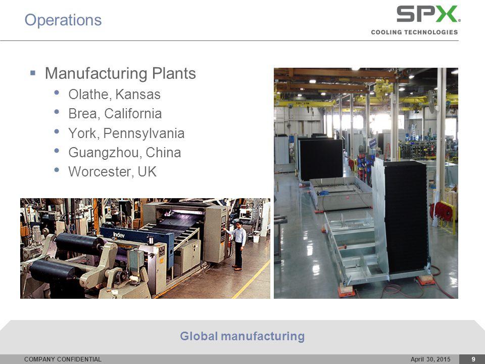 COMPANY CONFIDENTIALApril 30, 20159 Operations  Manufacturing Plants Olathe, Kansas Brea, California York, Pennsylvania Guangzhou, China Worcester, UK Global manufacturing