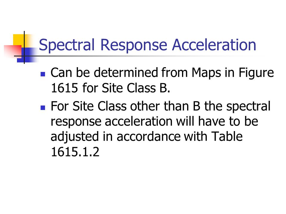 Spectral Response Acceleration Can be determined from Maps in Figure 1615 for Site Class B. For Site Class other than B the spectral response accelera