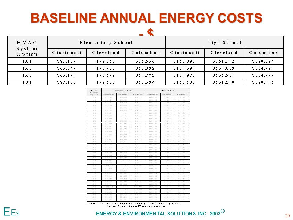 BASELINE ANNUAL ENERGY COSTS - $ 20 E E S ENERGY & ENVIRONMENTAL SOLUTIONS, INC. 2003 ©