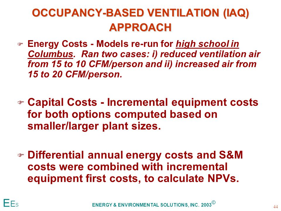OCCUPANCY-BASED VENTILATION (IAQ) APPROACH F F Energy Costs - Models re-run for high school in Columbus.