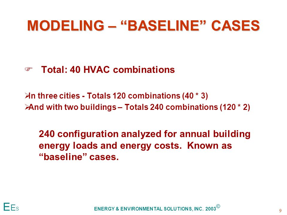 MODELING – BASELINE CASES F F Total: 40 HVAC combinations   In three cities - Totals 120 combinations (40 * 3)   And with two buildings – Totals 240 combinations (120 * 2) 240 configuration analyzed for annual building energy loads and energy costs.