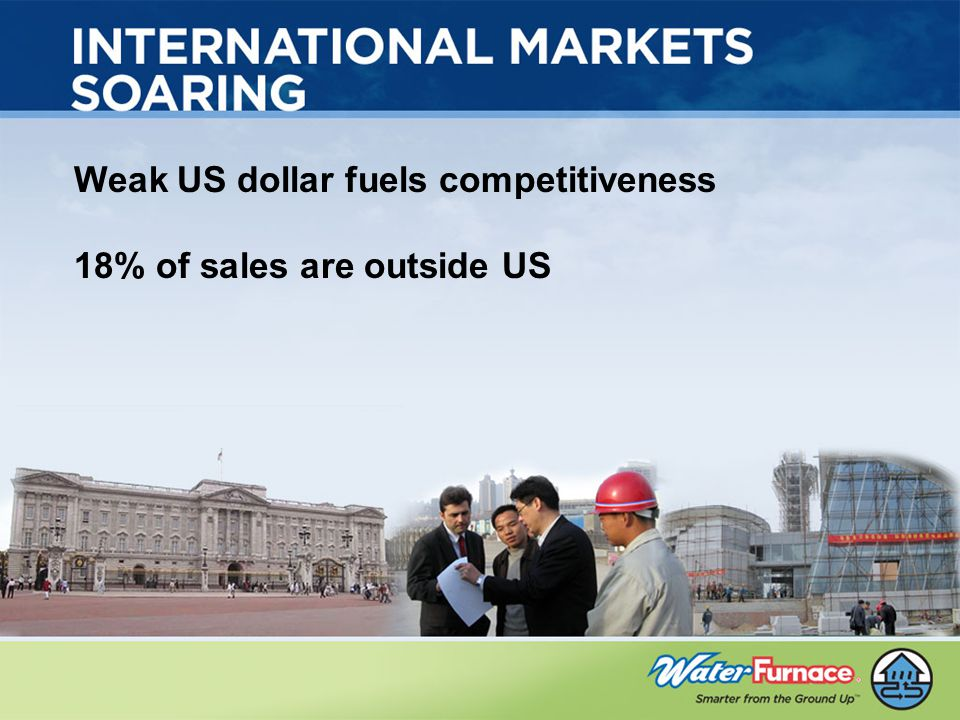 Weak US dollar fuels competitiveness 18% of sales are outside US
