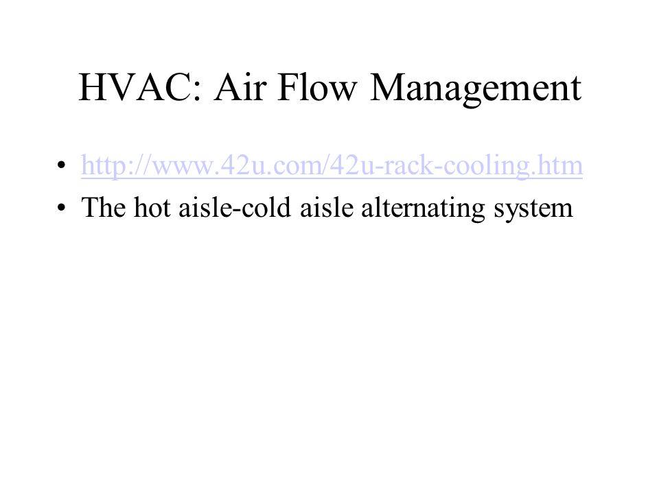 HVAC: Air Flow Management http://www.42u.com/42u-rack-cooling.htm The hot aisle-cold aisle alternating system