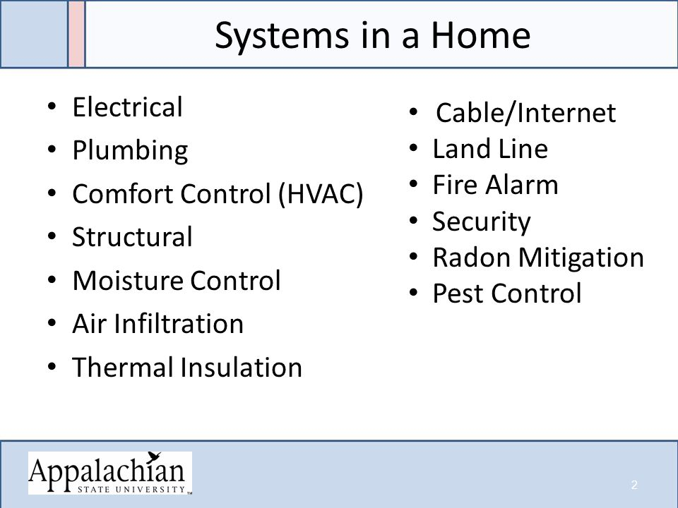 Systems in a Home Electrical Plumbing Comfort Control (HVAC) Structural Moisture Control Air Infiltration Thermal Insulation Cable/Internet Land Line Fire Alarm Security Radon Mitigation Pest Control 2